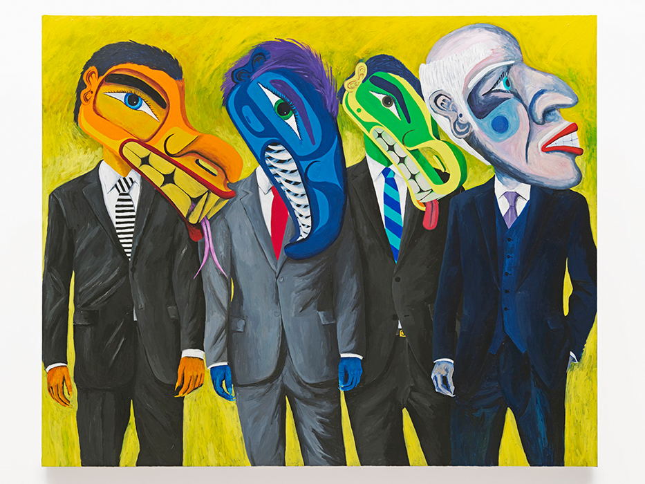 Lawrence Paul Yuxweluptun, The One Percent , 2015, acrylic on canvas, 7' x 5'