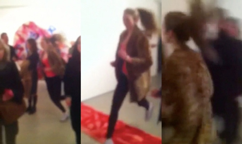 Woman Running with Ocelot Fur Air Spill also included a brief performance, wherein a personal trainer, as a quick mirage, runs through the gallery space providing a temporary compositional element.