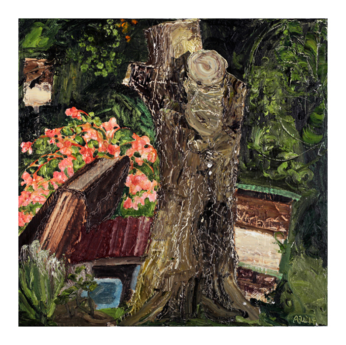 Attila Richard Lukacs, Ackee Tree with Begonia and Bee Boxes, 2014, oil on canvas, 24 x 24""