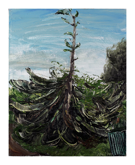 Attila Richard Lukacs, Norfolk Pine, 2014, oil on canvas, 30 x 21""