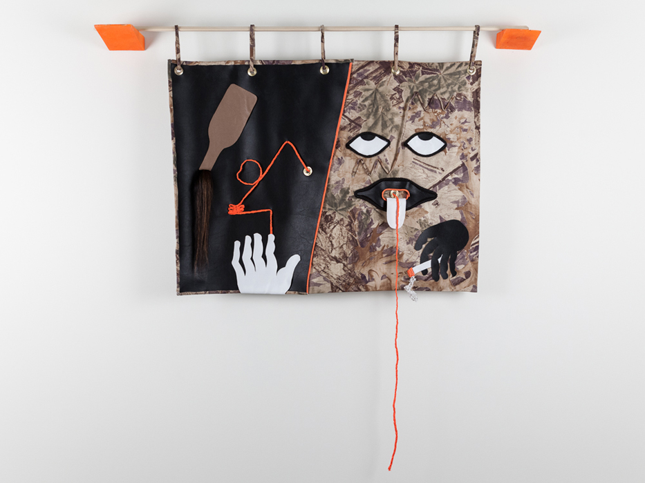 Walter Scott, A Somatic Conversion, 2013 Fabric, vinyl, wood, acrylic, found materials. Photo Credit: Barb Choit