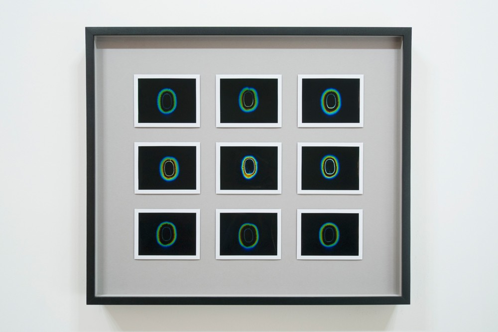 "Transcendental Capacities (New Romantic, 1980 - 1983), 9 Kirlian Polaroids, 18"" x 18"" (47cm x 47cm), Unique, 2013"