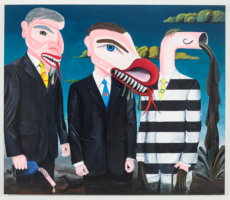 "Painting by Lawrence Paul Yuxweluptun. <em>Fucking Creeps They're Environmental Terrorists</em>, 2013, Acrylic on canvas, 84"" x 72"". Photo by Barb Choit."
