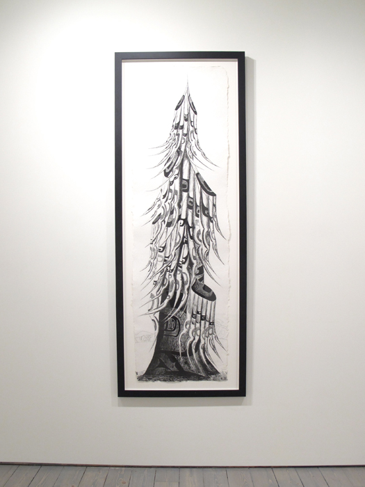 "Lawrence Paul Yuxweluptun, Old Growth Tree, 2012, Etching on St. Armand Paper, 19"" x 65""(image size), ed. of 25"