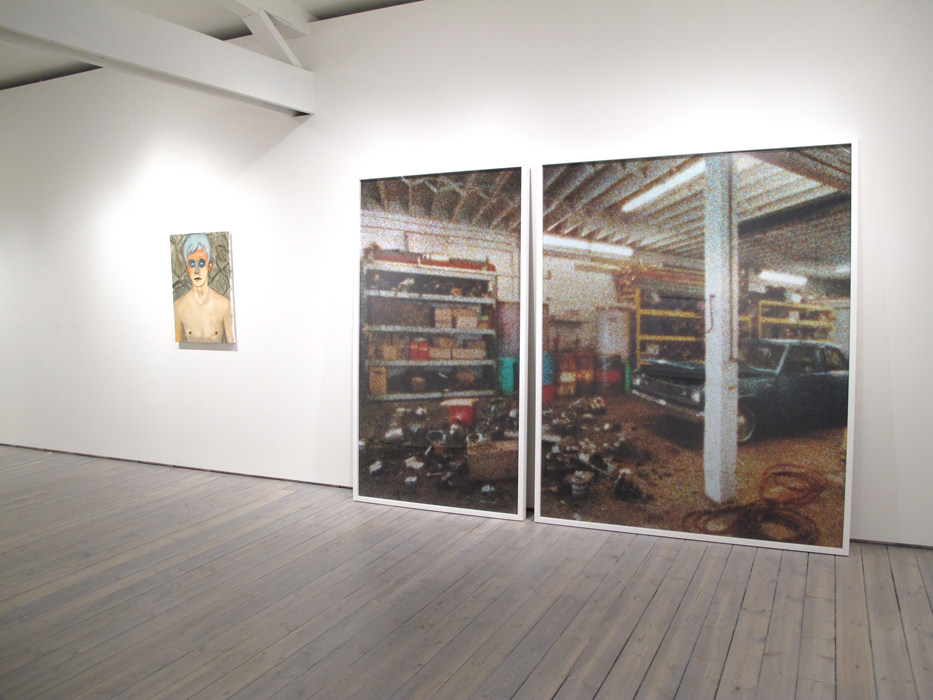 "nstallation view, from left: Brian Kokoska, Frost, 2011, Oil on canvas, 32"" x 23"", Mark Soo, Indeterminate Parts, 2010, C-Print, diptych, LEFT: 83"" X 48"", RIGHT: 83"" X 67"""