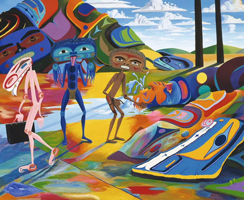 Painting by Lawrence Paul Yuxweluptun: <em>The Impending Nisg'a Deal, Last Stand.</em> Chump Change. acrylic on canvas, 201 cm x 245.1 cm, 1996, collection of the Vancouver Art Gallery