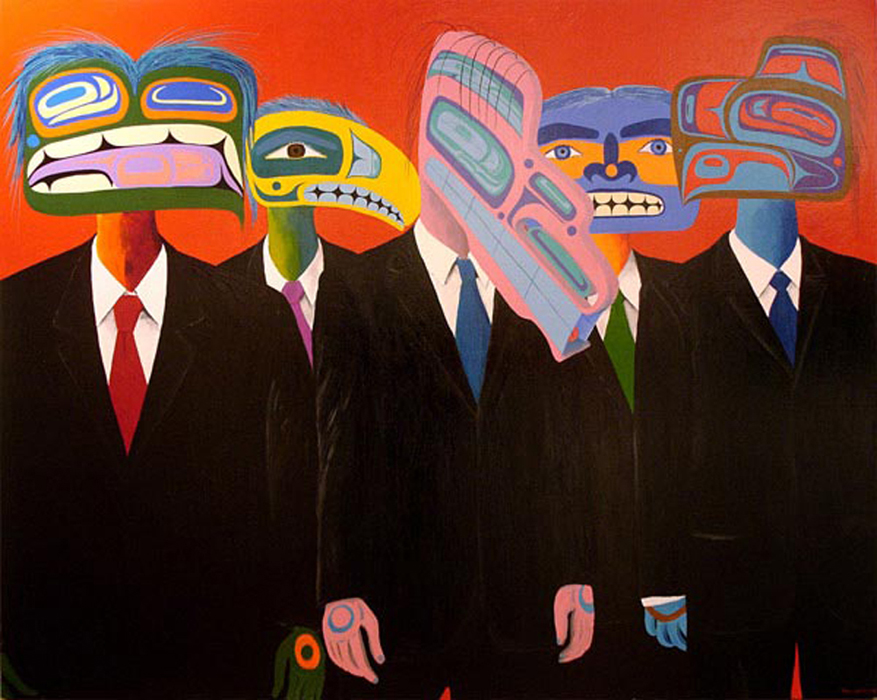 Painting by Lawrence Paul Yuxweluptun. New Chiefs on the Land, acrylic on canvas, 169 cm x 213 cm, 2006