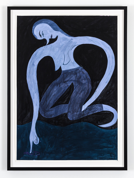 Nite Swim, 2014 guache on paper, 43.75 x 32""