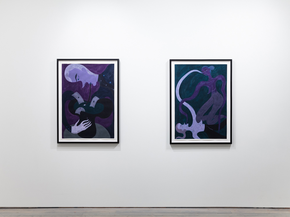 "From Left: Dark Arts, 2014 guache on paper, 43.75 x 32"", Dancers, 2014 guache on paper, 43.75 x 32"""