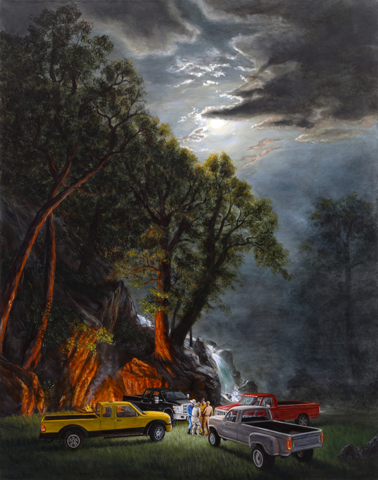 "Kent Monkman, The Ford Erections, 2014, acrylic on canvas, 48""x38"""