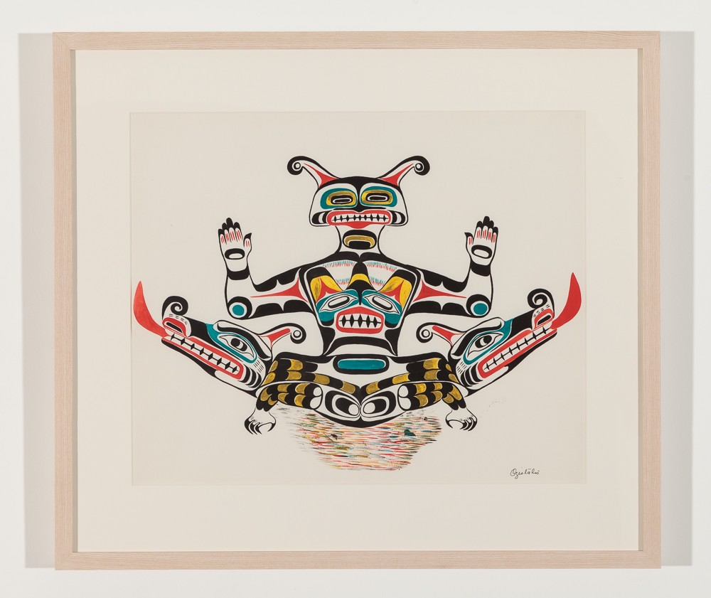 "Double Headed Serpent, 1961 Watercolour on paper, 21.5"" x 19"" framed"