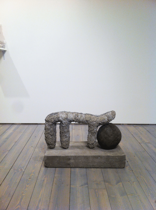 MARK DELONG, NUDE WITH SAUCE PAN, 2013, CONCRETE AND ROCK. Photo Credit: Barb Choit