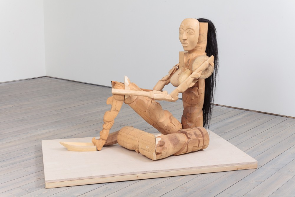 "Odalisque, 2014 red cedar, yellow cedar, 50""l x 41""h x 21""w"