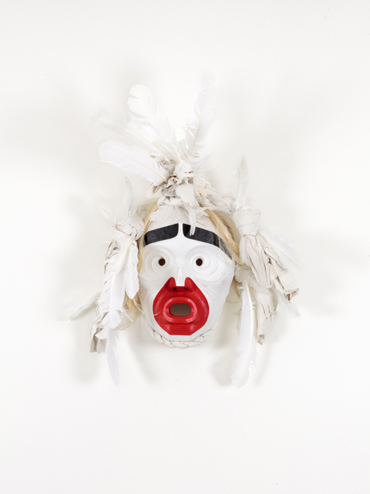 Beau Dick, Pookmis, 18″x26″, wood, feathers horse hair, paint