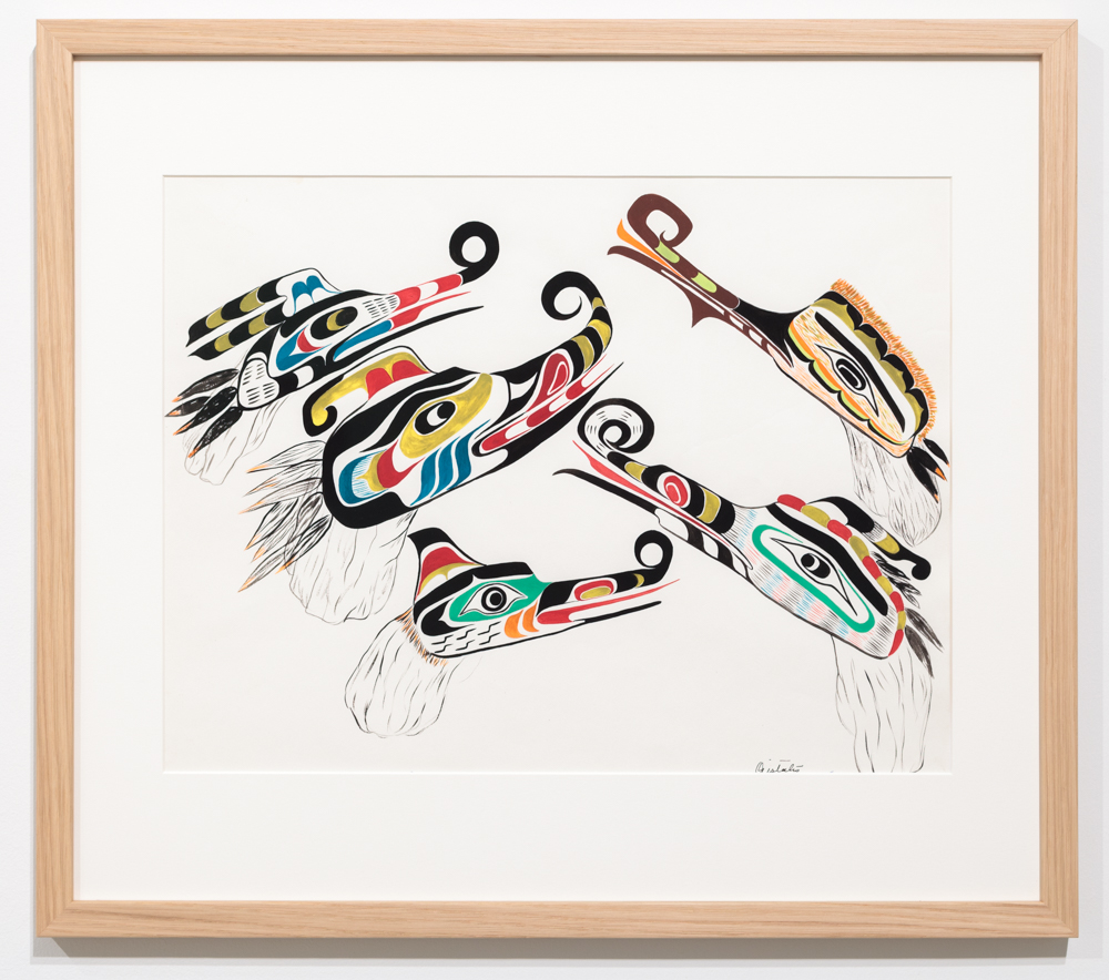 Chief Henry Speck, Snow Geese, Na-na-la, 1959, guache on paper.