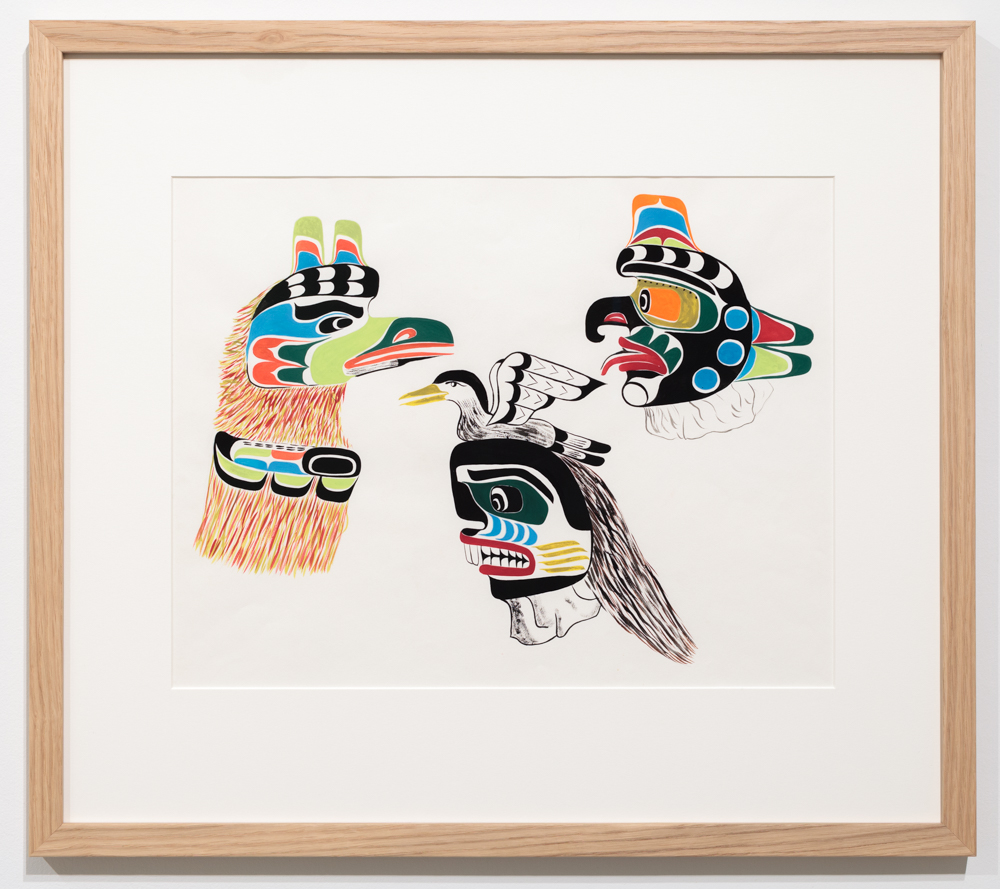 Chief Henry Speck, Wren Dance Mask, Sea Man, Seagull, 1959, guache on paper.