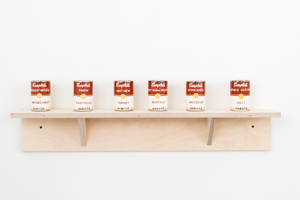 Judy Chartrand, Métis Soup (set: Moose Meat, Partridge, Turkey, Buffalo, Whitefish, Beet) six ceramic cans, 4.5 x 3 x 3 inches each, 2011-15.