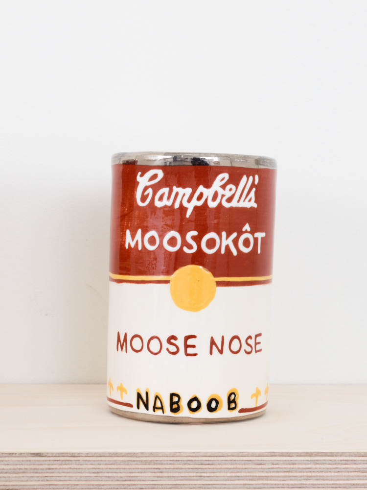 Judy Chartrand Métis Soup (detail), Moose Nose. Ceramic can, 4.5 x 3 x 3 inches, 2011-15.