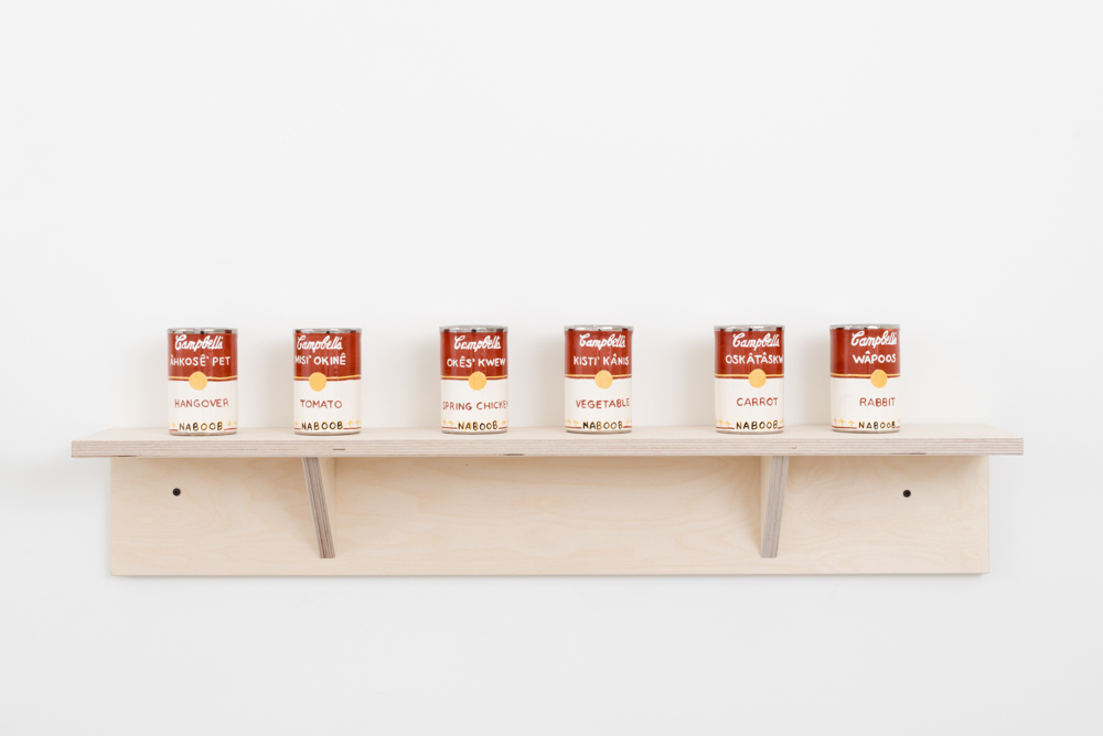 Judy Chartrand Métis Soup (set: Hangover, Tomato, Spring Chicken, Vegetable, Carrot, Rabbit) six ceramic cans, 4.5 x 3 x 3 inches each, 2011-15.