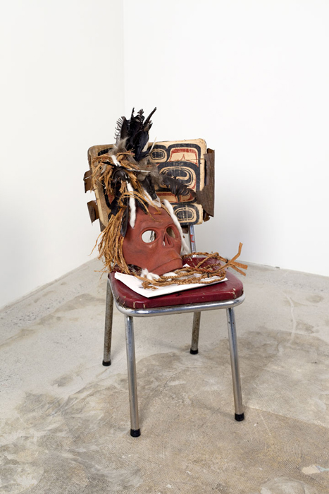 "The Ghost Con-fined to the Chair, 2012, 31""x13""x19"", chair, carving, documents, feathers"